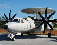 Stationary navy plane Royalty Free Stock Images