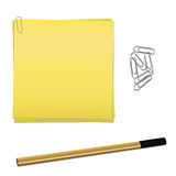 Stationary objects. Vector of paper clips, post it and pen Stock Image