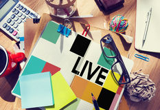 Stationary Office Desk Messy Live Concept stock photo