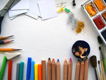 Stationary. Office supplies on a white sheet of paper. Stock Photography