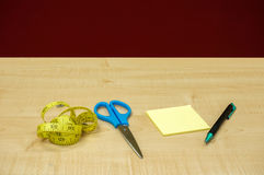 Stationary office on wooden table Royalty Free Stock Images