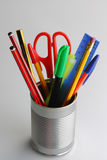 Stationary organiser. Stationary in a metal tin desk organiser Stock Photography