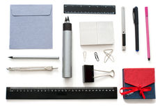 Stationary over white. Isolated set of stationary  goods over white Stock Image