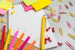 Stationary in pink and yellow color. With copy space Stock Images