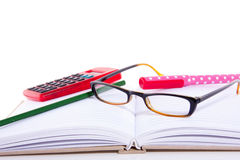 Stationary and reading glasses Royalty Free Stock Photo