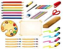 Stationary set with colorpencils and art objects Stock Photo