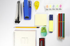 Stationary set isolated on gray background. Back to school, back to work Stock Image