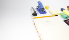 Stationary set isolated on gray background. Back to school, back to work Stock Photography