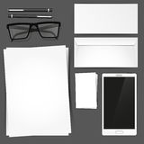 Stationary Set Mockup. Vector illustration stationary set Royalty Free Stock Image