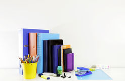 Stationary set on white background. Back to school, back to work Stock Photo