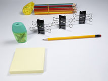 Stationary set on white background. Back to school, back to work Stock Images
