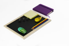 Stationary set on white background. Back to school, back to work Royalty Free Stock Photography