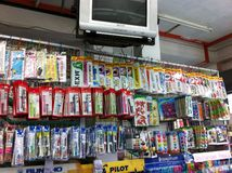 Stationary shop. Full of signs Stock Photo