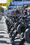 Stationary spinning bikes rows Stock Image
