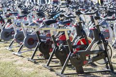 Stationary spinning bikes rows Royalty Free Stock Photos