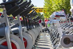 Stationary spinning bikes rows Stock Photos