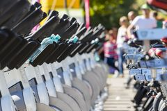 Stationary spinning bikes rows Stock Photo