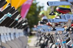 Stationary spinning bikes rows Stock Photography
