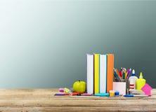 Stationary. Desk office background blank book breakfast Stock Photo