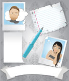 Stationary template. A template with note papers, banners and polaroids of a couple in love Royalty Free Stock Image