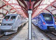 Stationary Trains Stock Photo