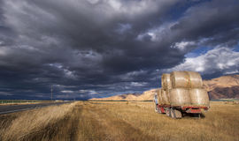 Stationary Truck Loaded With Hay Bales royalty free stock photo