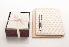 Stationary with two notebooks and a pen Stock Image