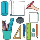Stationary. Vector set of stationary cartoon Stock Images
