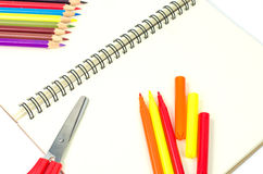 Stationary on a white background.  Stock Photo