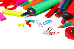 Stationary on a white background. top view Royalty Free Stock Photo