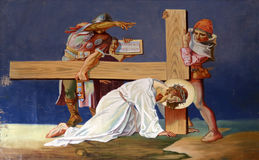 Stationen des Kreuzes, Jesus-Fälle das zweite mal Lizenzfreie Stockfotos