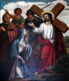 4. Stationen des Kreuzes, Jesus trifft seine Mutter Stockbilder