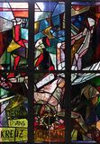 11. Stationen des Kreuzes, Kreuzigung: Jesus wird auf das Kreuz genagelt Lizenzfreie Stockbilder