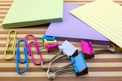 Stationery. Various office supplies on striped background Stock Images