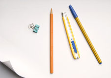 Stationery. A lot of Stationery on white background Royalty Free Stock Image