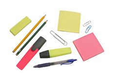 Stationery. Different kinds of stationery on white background Royalty Free Stock Photography