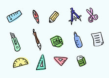 Stationery. Set with various writing equipment,vector illustratoion Stock Image