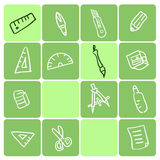 Stationery. Set with various writing equipment,vector illustratoion Stock Images