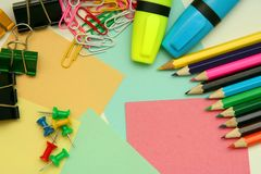 Stationery. Assortment of stationery on the table Stock Photos