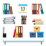 Stationery accessories on the table vector illustration. Folders with documents Stock Photos