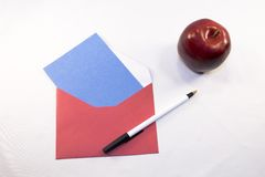 Stationery with apple Royalty Free Stock Photography