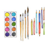 Stationery, art materials, set of paint brushes Royalty Free Stock Image