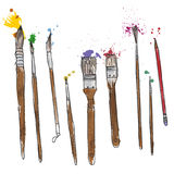 Stationery, art materials, set of paint brushes Stock Images