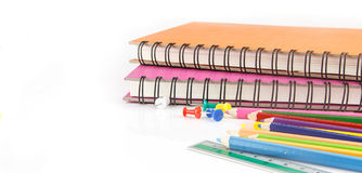 Stationery background - education accessories on white Royalty Free Stock Photos