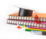 Stationery background - education accessories on white Stock Photos