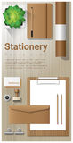 Stationery background with office equipment on wooden table Stock Photography