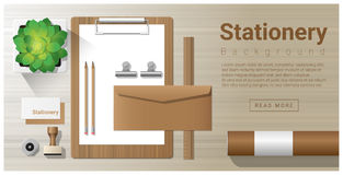 Stationery background with office equipment on wooden table Stock Image