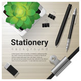 Stationery background with office equipment on wooden table Stock Images