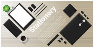 Stationery background with office equipment on wooden table Royalty Free Stock Image