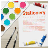 Stationery background with school supplies on wooden table Royalty Free Stock Photo